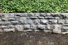 Columbia River basalt retaining wall.  Dry stone masonry construction.