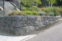 Black basalt retaining wall.